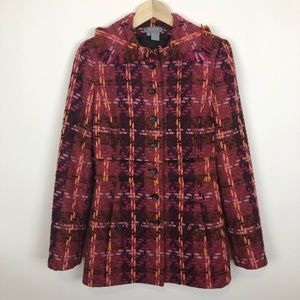 Eccoci plaid wool blend pea coat jacket medium 8